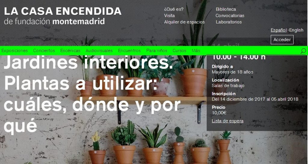 Cursos de jardinería en la Casa Encendida | Rojomenta