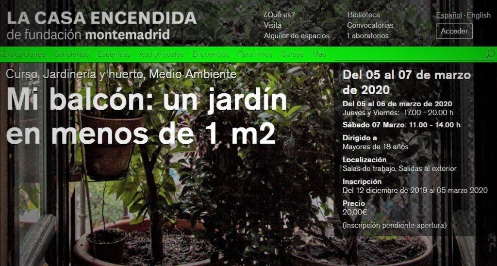 jardines en balcones - taller jardinería Madrid - Rojomenta - La Casa Encendida